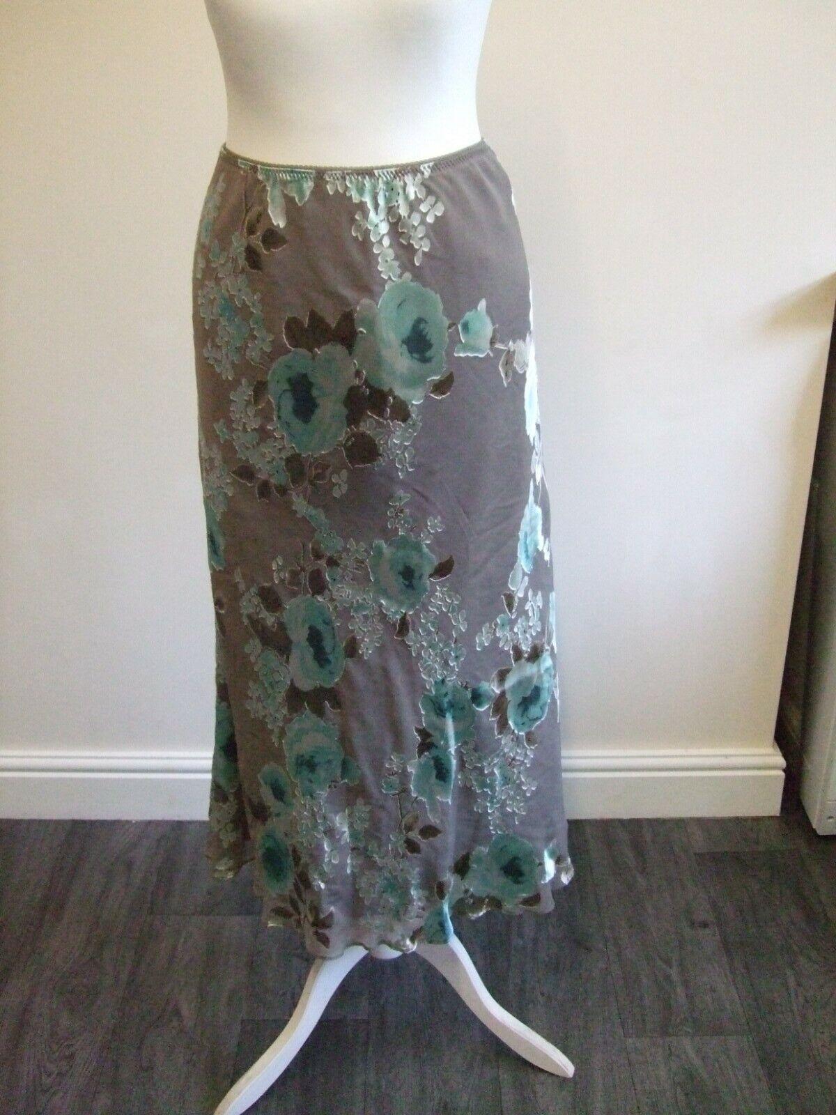 JACQUES VERT LADIES SKIRT size12 grey/blue print silk blend fabric