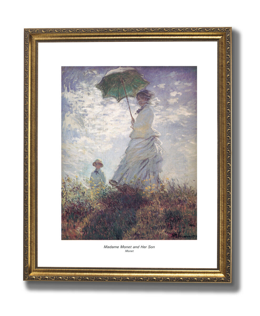 Madame Monet And Son Flowers Landscape Wall Picture oro Framed Art Print