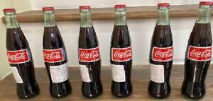 6-Mexican-Coca-Cola-Cane-Sugar-Import-Glass-Bottles-12oz-Coke-Mexico-355ML