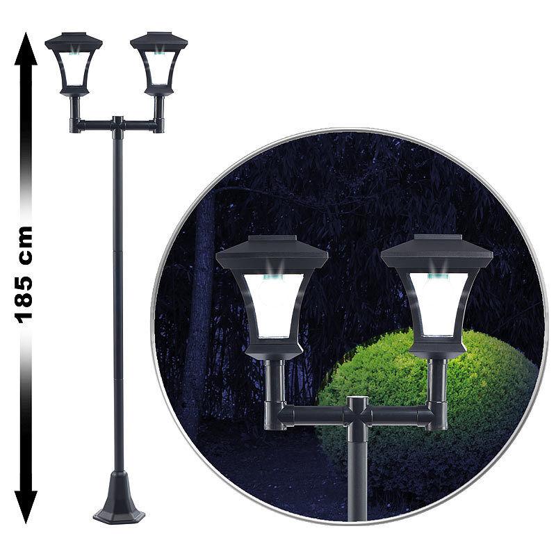 2-flammige Solar-LED-Gartenlaterne, SWL-25, 0,36 W, 24 lm, 185 cm hoch  | Nutzen Sie Materialien voll aus