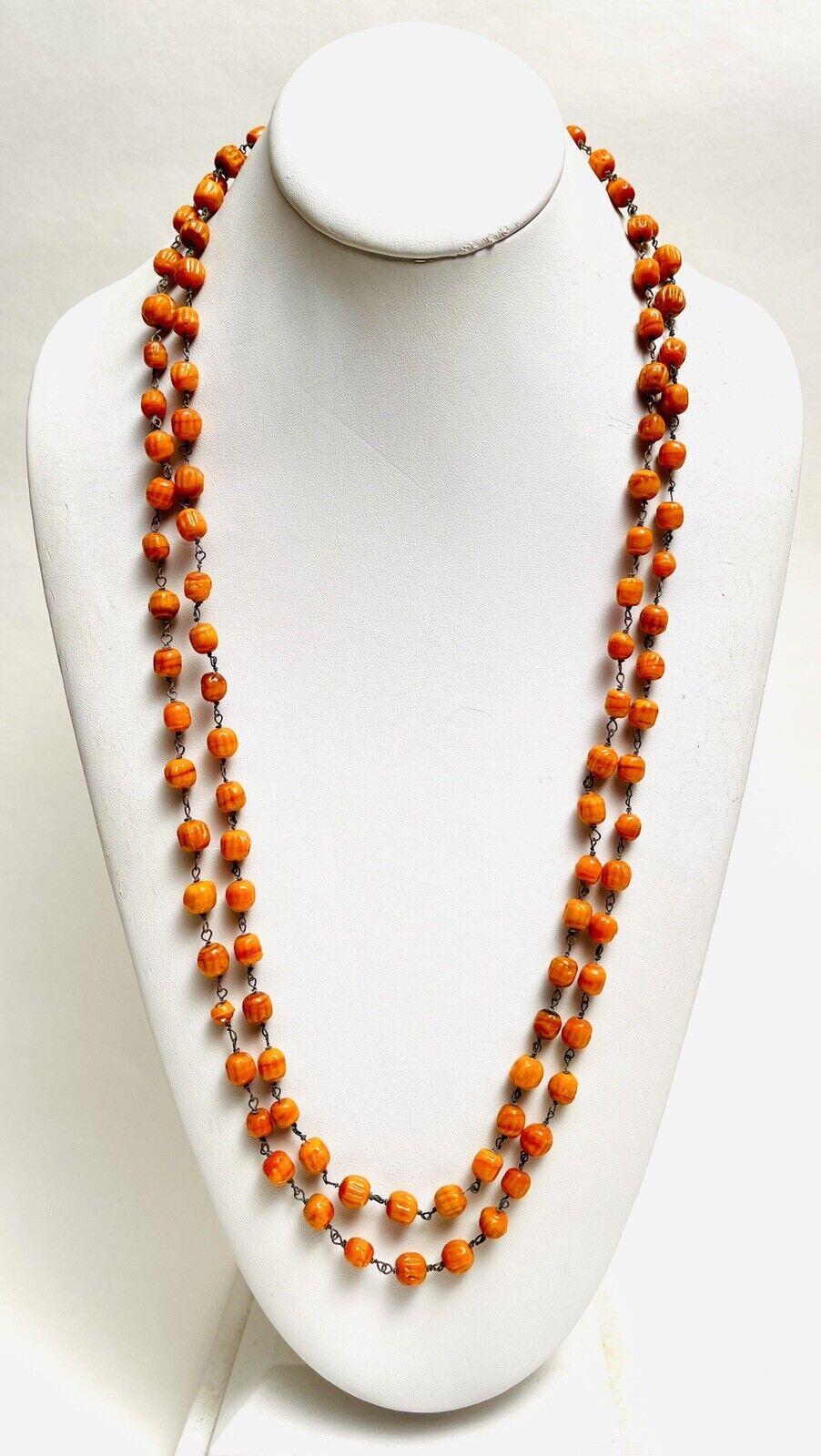 Pumpkin spice goldstone beaded necklace