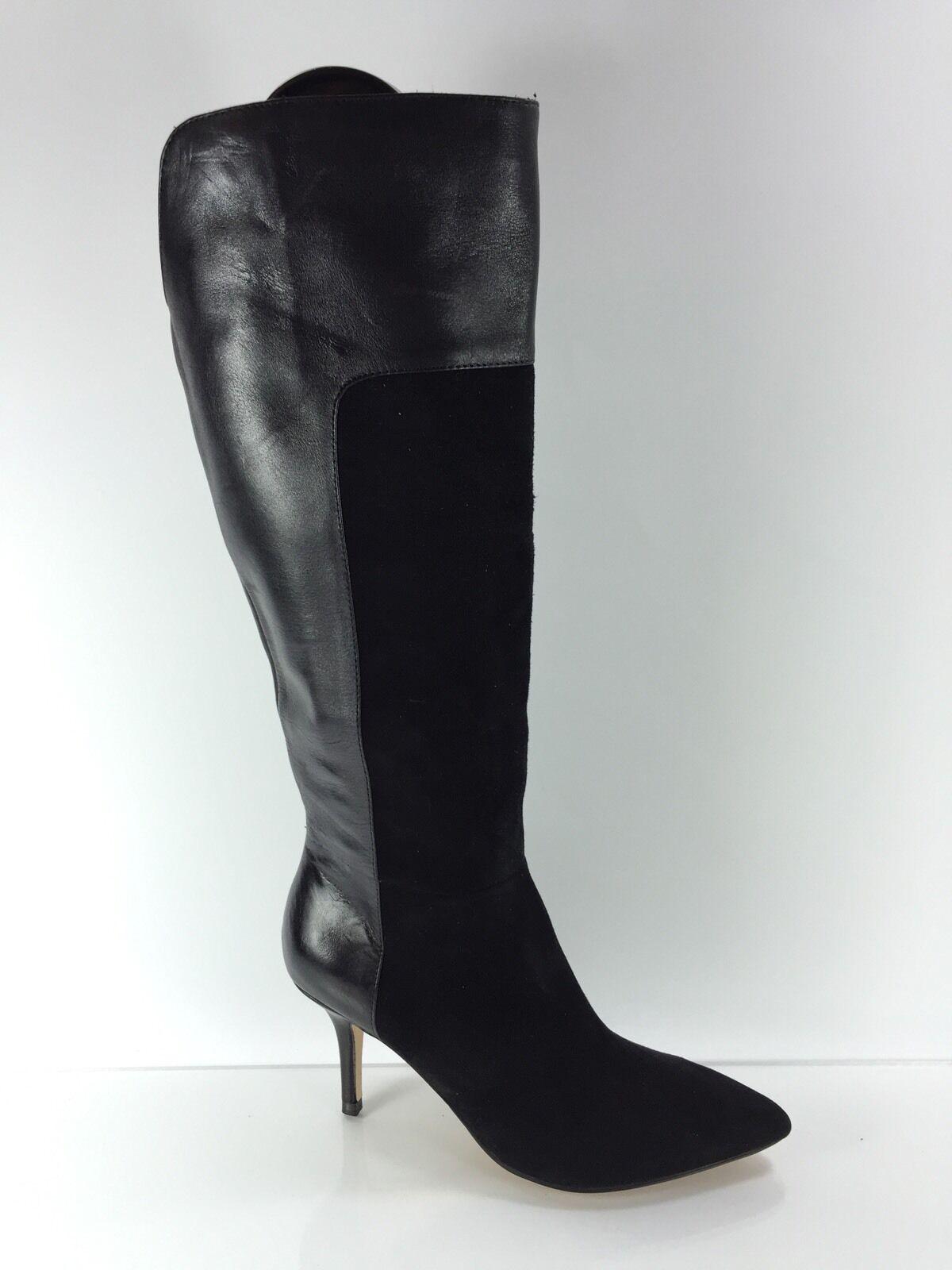 Ivanka Trump Womens Black Leather Knee Boots 6 M