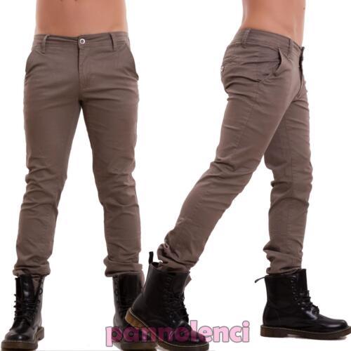 Pantaloni uomo jeans denim CHINO slim tasconi casual aderenti nuovi E5660