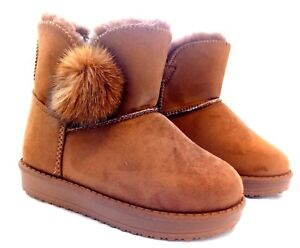 Girls Children/'s Kid/'s Tan Faux Fur Lined Suede Flat Boots Size 10 11 12 13 1 2