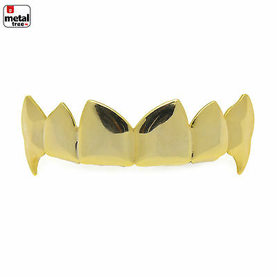 Vampire GRILLZ Plain Fangs 14k Gold Plated Top Upper Teeth Fang Dracula L055G