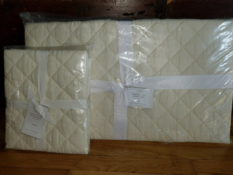 Pottery barn Begian flax linen diamond Quilt Twin Ivory