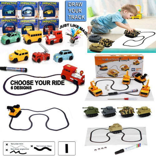 Magic Smart Inductive Tanks Truck Car Follow Any Line You Draw Children Kids Toy