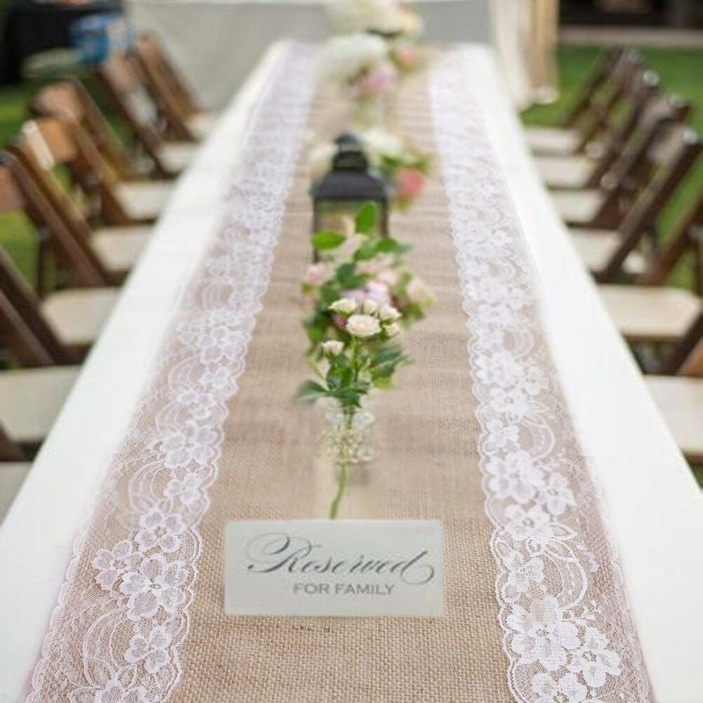 10Pcs Rustique Naturel Toile De Jute de Hesse Lace Table Runner Fête De Mariage Table Décoration