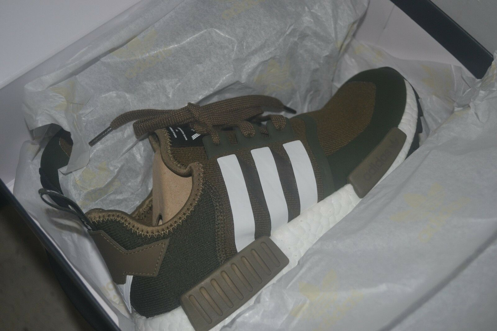 finest selection eee75 9fd7a ... ADIDAS NMD TRAIL PK PRIMEKNIT WHITE MOUNTAINEERING TRACE OLIVE R1 R1 R1  CG3647 WOMN9.5 ...