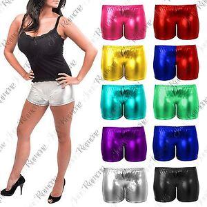 9a19e545baf New Womens Metallic Foil Wet Look Hot Mini Pants PVC Shiny Disco Gym ...