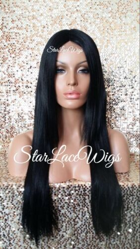 Long Straight Layered Lace Front Wig Off Black #1b Middle Part Heat Safe Ok