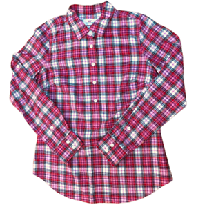 Vineyard Vines Plaid Long Sleeve 1/2 Button Up Shirt, Women's Size 2, Pink/ Red