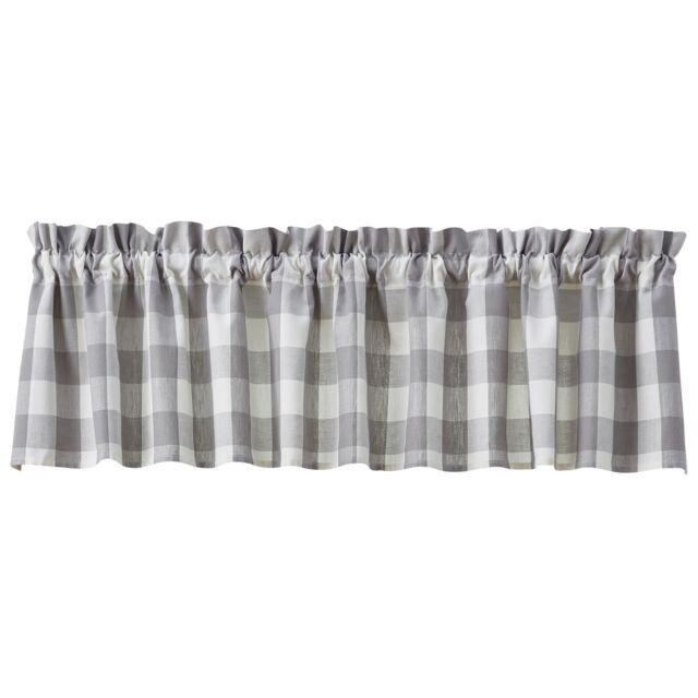 "WICKLOW Dove Gray Lined Valance Buffalo Check Farmhouse 14/""x 60/"" by Park Designs"