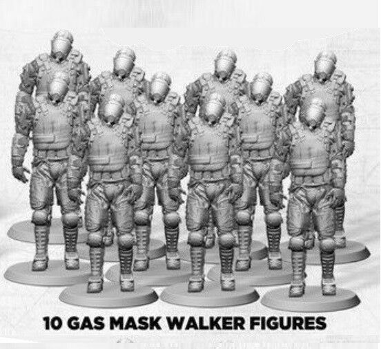 The Walking Dead Miniatures 30mm Scale Unpainted Miniatures Zombies Gas Mask x10