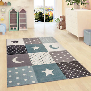Image Is Loading Kids Rug Grey Blue Star Nursery Uni