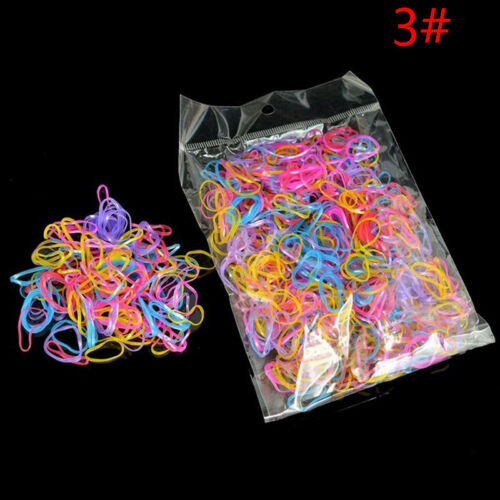 1000Pcs Mix Color Baby Girl/'s TPU Rubber Hair Bands Holders Elastics Tie NEW*