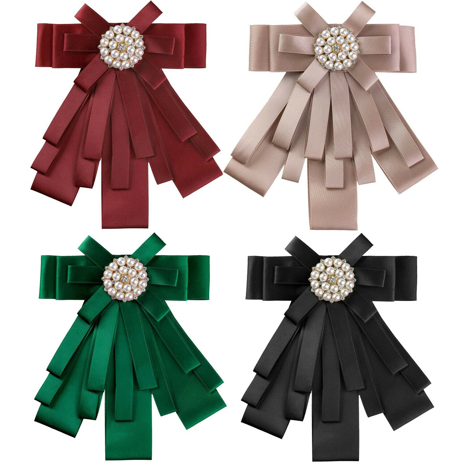 Beads Rhinestone Pre-Tied Ribbon Brooch Bow Tie Pin Collar Bow for Women Girls