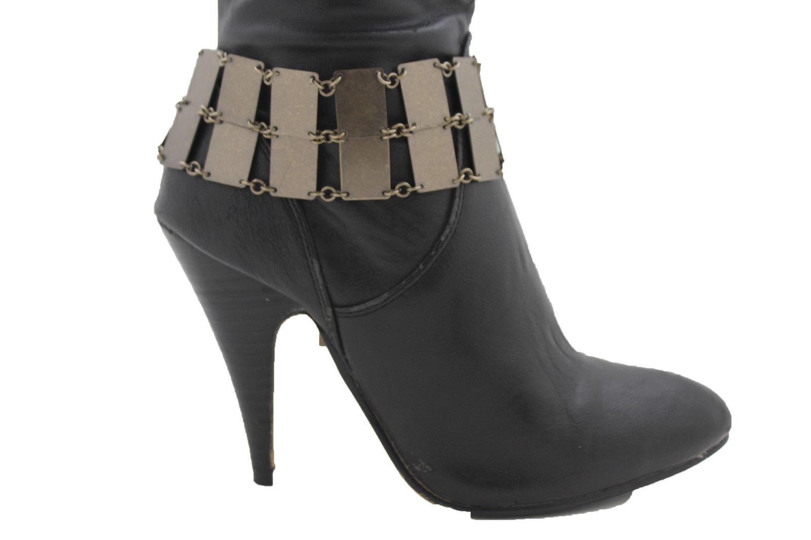 Women Boot Bracelet Antique Gold Metal Chain Sqaure Anklet Bling Wide Shoe Charm