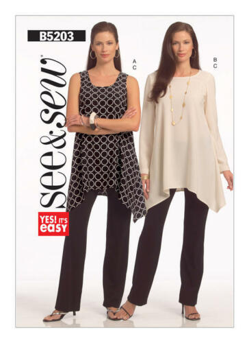 Butterick 5203 Easy Sewing Pattern to MAKE Handkerchief Top /& Trousers See /& Sew