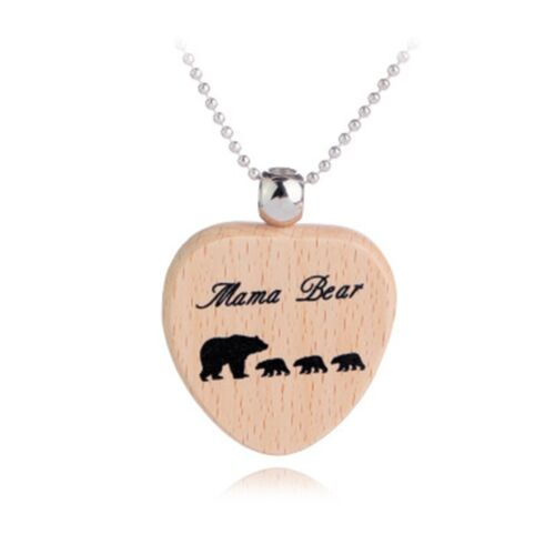 Creative Wooden Mama Bear Wooden Necklace Pendant Fashion Jewelry Mother Gift