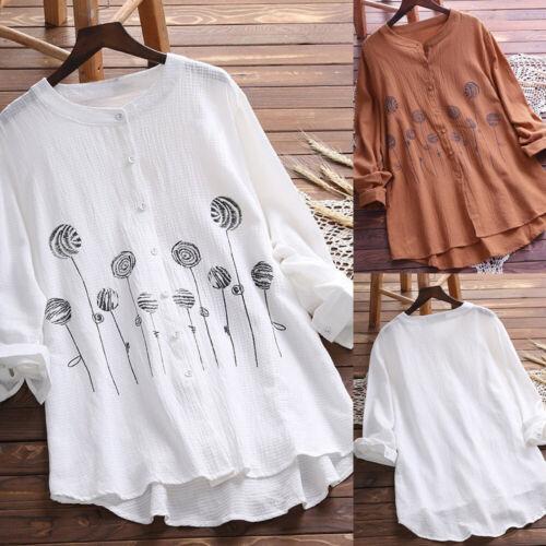 Plus Size Women Button Tunic Blouse Long Sleeve Loose Cotton Linen Shirt Tops