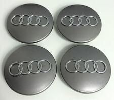 4 X Rueda De La Aleación Centro Tapacubos 68mm Audi Gris S3 S4 A3 A4 A6 A8 Tt Rs4 Q5 Q7