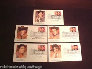 Lot-of-5-Collectable-Elvis-Presley-1st-Day-Stamped-Covers-NMT