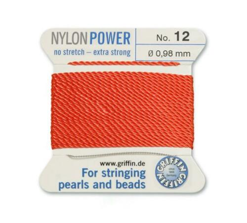 CORAL RED NYLON POWER SILKY THREAD 0.98mm STRINGING PEARLS /& BEADS GRIFFIN 12