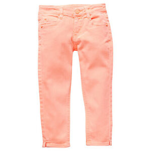 Girls-New-With-Tags-034-Fluro-Orange-034-7-8-Length-Stretch-Jeans-Pants-Size-4-5-6