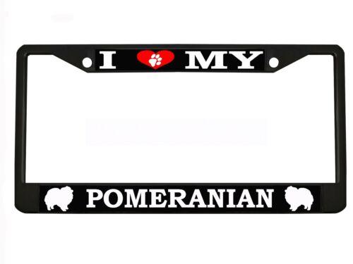 "/""I LOVE MY POMERANIAN/"" Chrome Metal Auto License Plate Frame Car Tag Holder"