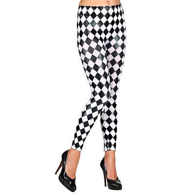 Damen Harlekin Leggings Schachbrett Muster Strumpfhose Leggins Schwarz-Weiß L-XL