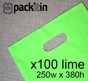 100-LIME-GREEN-PLASTIC-CARRY-BAGS-with-die-cut-handle-medium-size-250-x-380mm