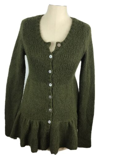free people Womens Small Army Green Button Up Swea