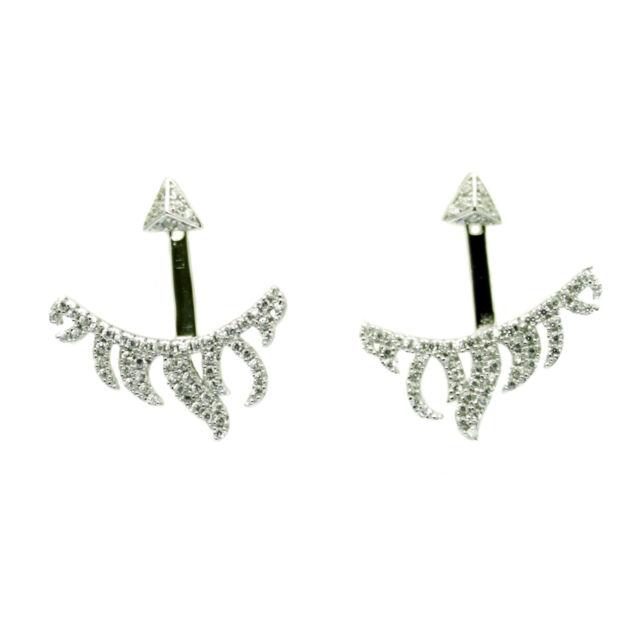 Ear Jacket Cuff Stud Earrings Faux Diamond on Sterling Silver