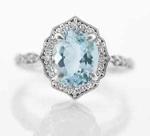 925-Sterling-Silver-Ring-Natural-Blue-Aquamarine-Gemstone-Vintage-Oval-Size-4-11