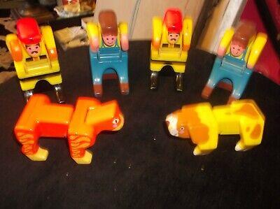 6 X Vintage Pieghevole Blocco Figure Mattel 1985 Persone + Tigre + Cane Doppio Dooz-mostra Il Titolo Originale