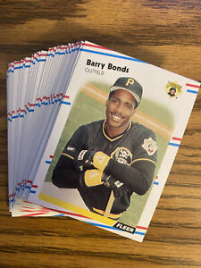 (40) 1988 Fleer Barry Bonds NRMT+ #322 Pittsburgh Pirates Lot