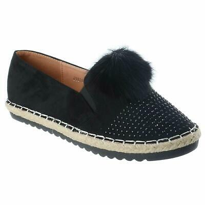 NEW WOMEN ESPADRILLE SHOES CUT OUT SLIDERS DOLLY PUMPS LADIES FLATS LOAFERS 3-8