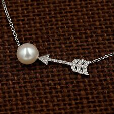 8 m White Freshwater Pearl CZ Arrow Pendant Necklace 925 Sterling Silver 08738