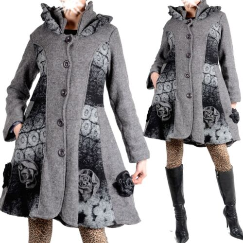 Da Donna Lagenlook Lana Cappotto Trench Coat 38 40 42 44 46 48 M L XL XXL Patchwork