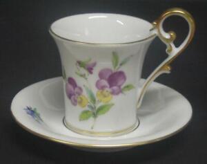 Vintage-AK-Kaiser-demitasse-Cup-amp-Saucer-Violets-Viola-Gold-West-Germany-floral