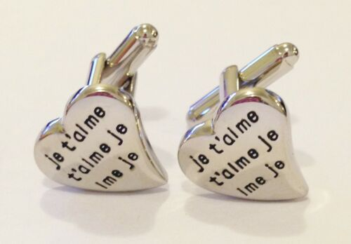#1059 NOVELTY FRENCH I LOVE YOU JE T/'AIME HEART MENS DRESS CUFF LINKS CUFFLINKS