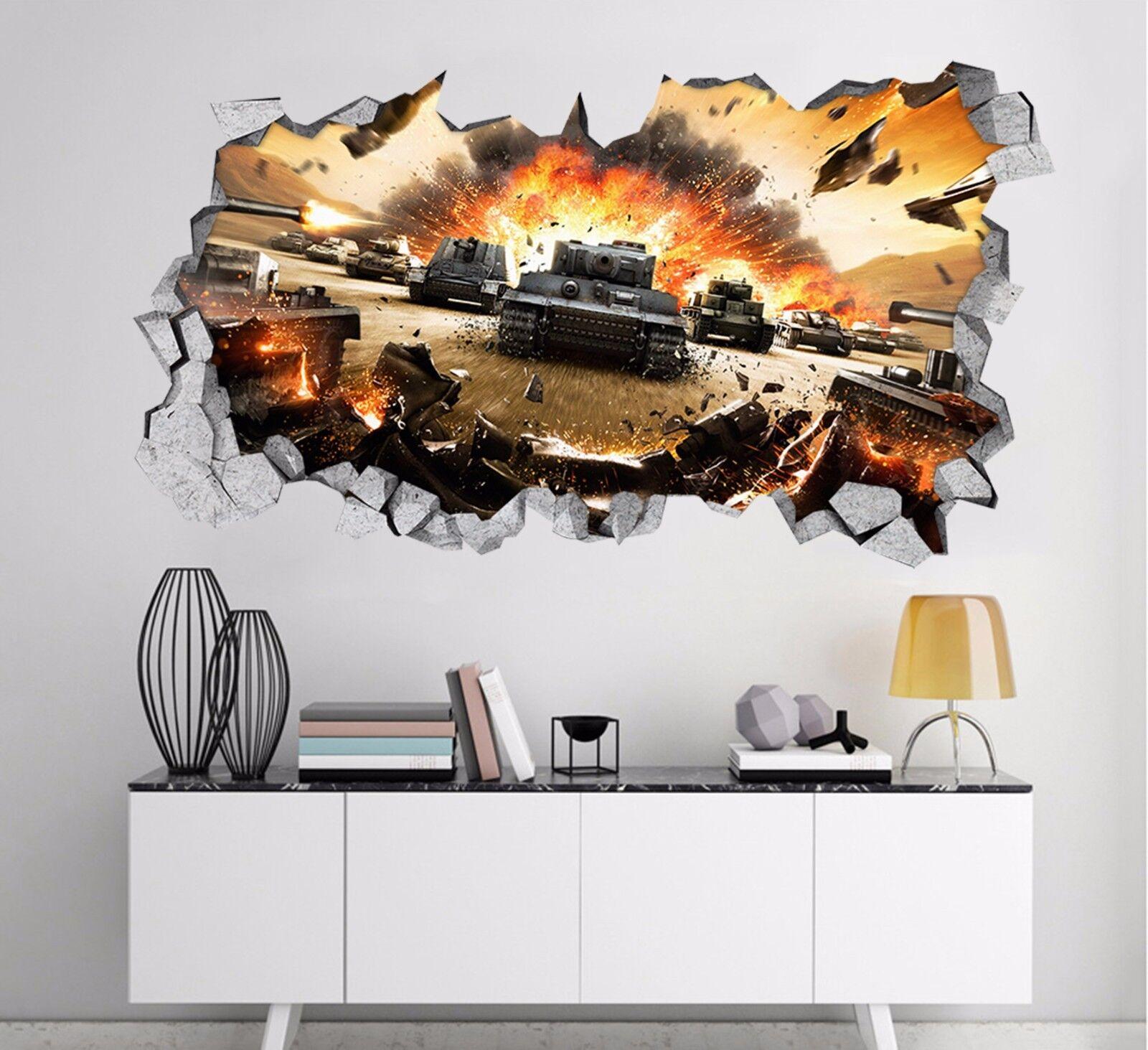 3D Tank Krieg 5 Mauer Murals Aufklebe Decal Durchbruch AJ WALLPAPER DE Kyra
