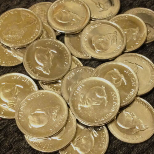 circulated Roll of 40 1967 Rabbit Nickels