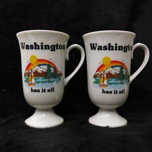 Vintage-Papel-Washington-Has-it-Tall-Irish-Coffee-Pedestal-Mug-Pair-USA-Made