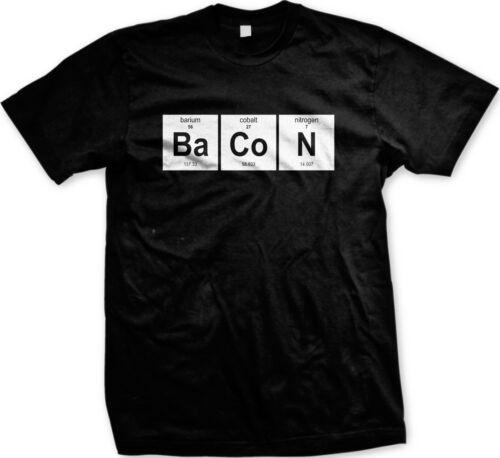 Periodic Table Bacon Barium Cobalt Men/'s T-shirt Foodies Funny