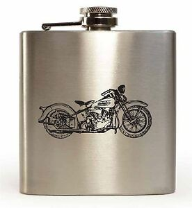 Laser Engraved 6oz Stainless Steel Hip Flask With Harley