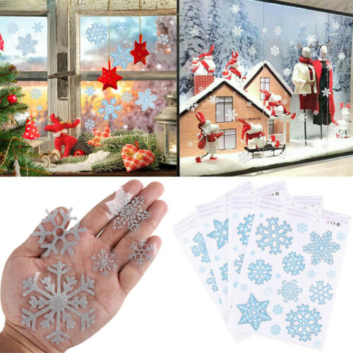 78PCS Weihnachten Glitter Schneeflocke Fenster Sticker Wall Decal Home Decor-RO