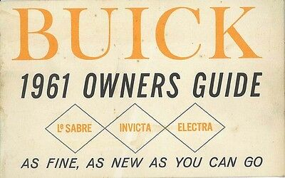 1961 Buick Electra Lesabre Invicta Owners Manual User Guide Reference Book OE