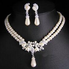 SET Collier e orecchini Perle Collana Di Strass Fiori Gocce Foglie